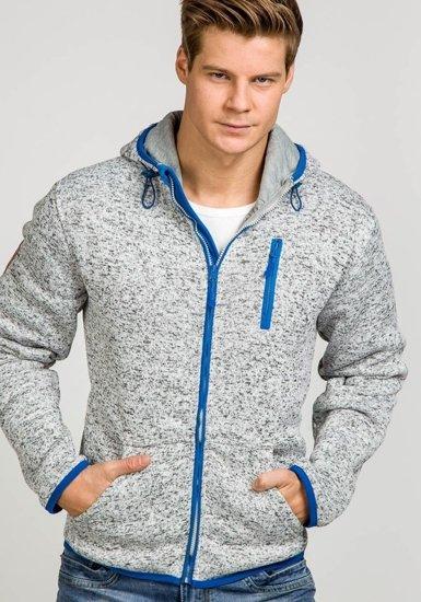 Bluza męska z kapturem szaro-niebieska Denley 3562A