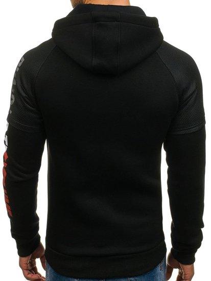 Bluza męska z kapturem z nadrukiem czarna Denley 1202-2