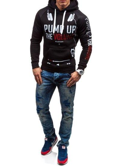 Bluza męska z kapturem z nadrukiem czarna Denley 1202
