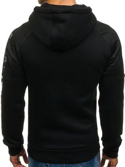Bluza męska z kapturem z nadrukiem czarno-bordowa Denley 1202-2