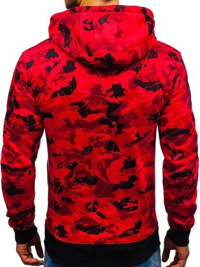 Bluza męska z kapturem z nadrukiem czerwona Denley DD568