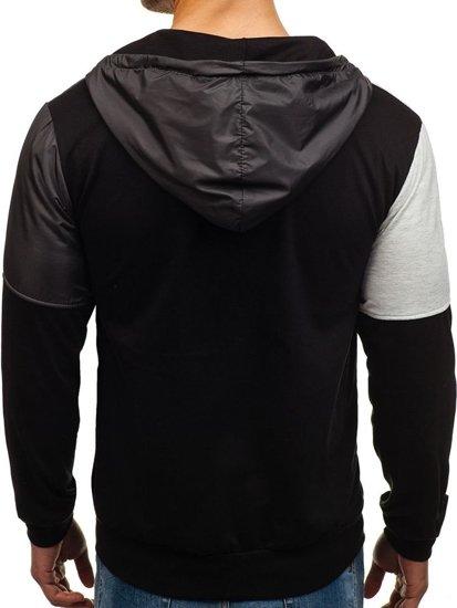 Bluza męska z kapturem z nadrukiem grafitowo-czarna Denley 1111