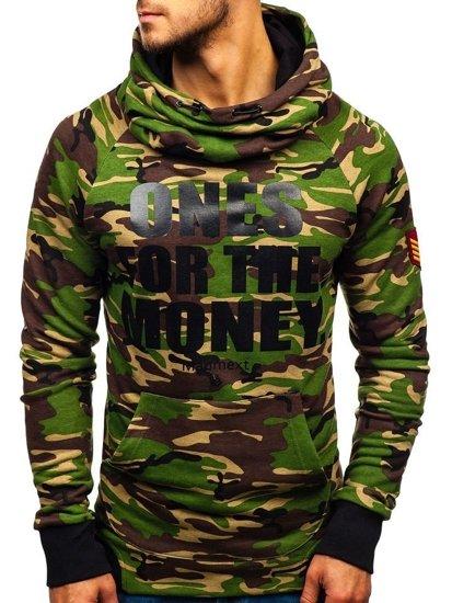 Bluza męska z kapturem z nadrukiem moro-zielona Denley 1154