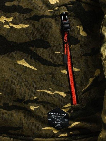 Bluza męska z kapturem zielono-czerwona Denley 3739
