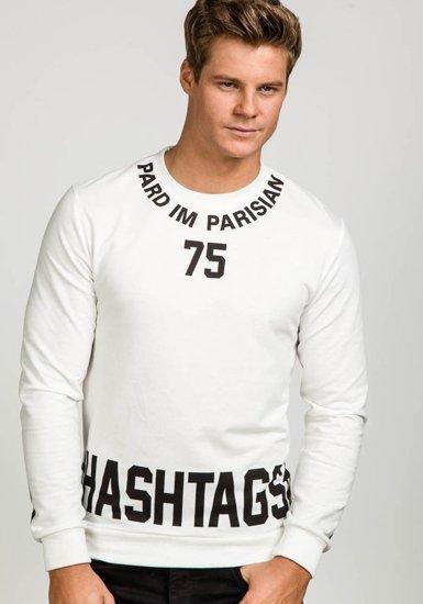 Bluza męska z nadrukiem biała Denley 7321