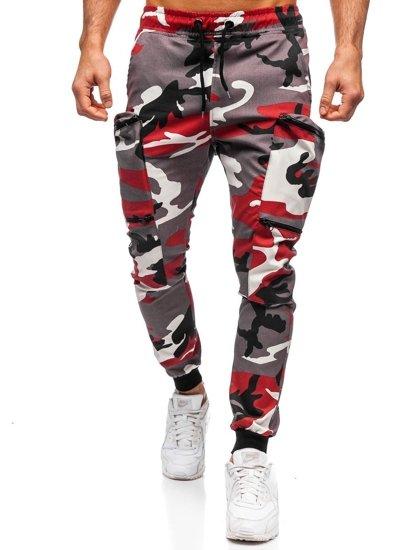 Bordowo-czerwone spodnie joggery bojówki męskie Bolf 0475