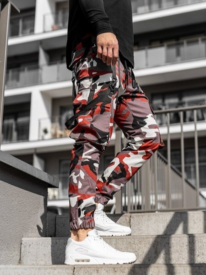 Bordowo-czerwone spodnie joggery bojówki męskie Denley 11105