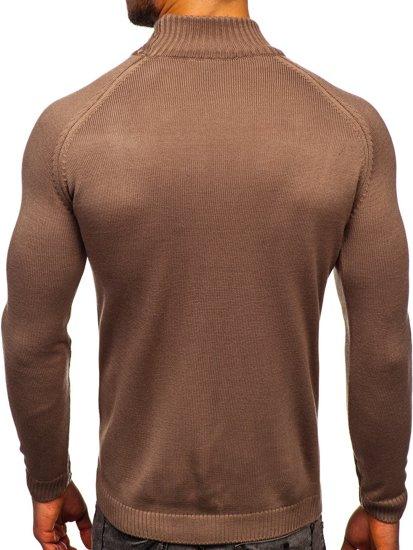 Brązowy sweter męski golf Denley 1008