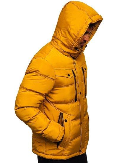 Camelowa pikowana kurtka męska zimowa Denley 1182
