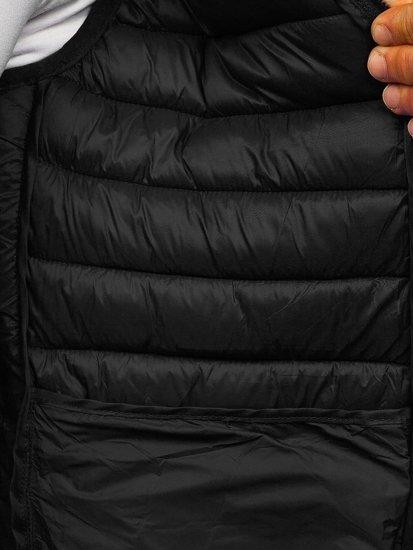 Czarna pikowana kamizelka męska z kapturem Denley LY36