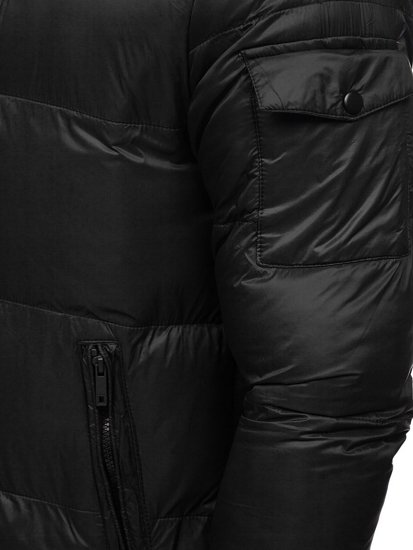 Czarna pikowana kurtka męska zimowa Denley 1161