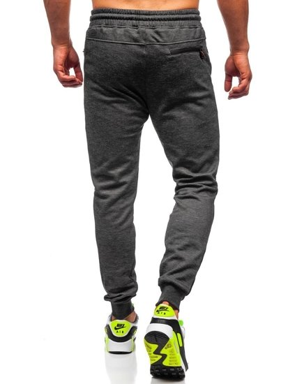 Czarne dresowe spodnie męskie Denley TC947