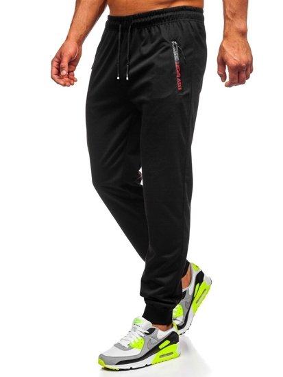 Czarne spodnie męskie dresowe Denley JX305