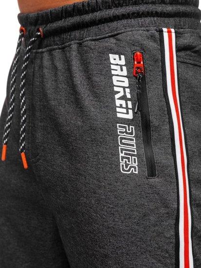 Czarno-pomarańczowe spodnie męskie dresowe joggery Denley Q3886