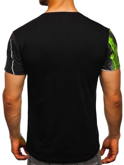 Czarno-zielony T-shirt męski z nadrukiem Denley SS11117