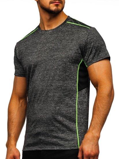 Czarny T-shirt treningowy męski bez nadruku Denley KS2102