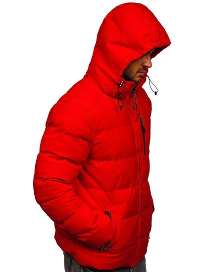 Czerwona pikowana kurtka męska zimowa Denley J1906