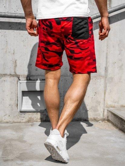 Czerwone dresowe krótkie spodenki męskie Denley KK300161