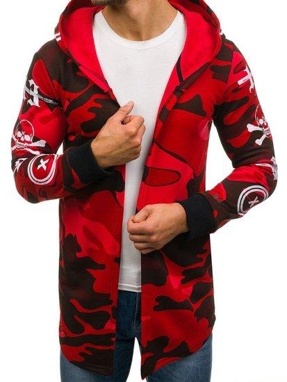 Długa bluza męska z kapturem moro-czerwona Denley 171491