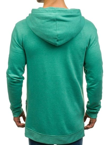 Długa bluza męska z kapturem rozpinana zielona Denley 0891