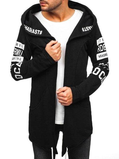 Długa bluza męska z kapturem z nadrukiem czarna Denley 11110
