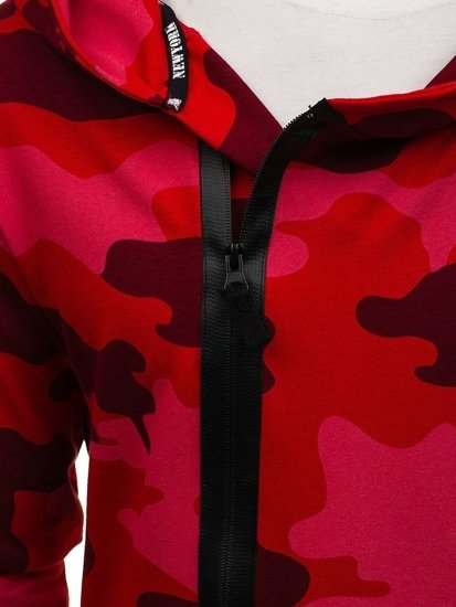 Długa bluza męska z kapturem z nadrukiem czerwona Denley 0913