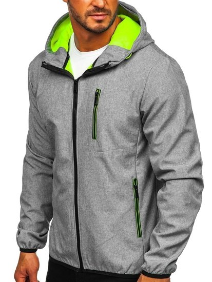 Grafitowa kurtka męska przejściowa softshell Denley KS2195