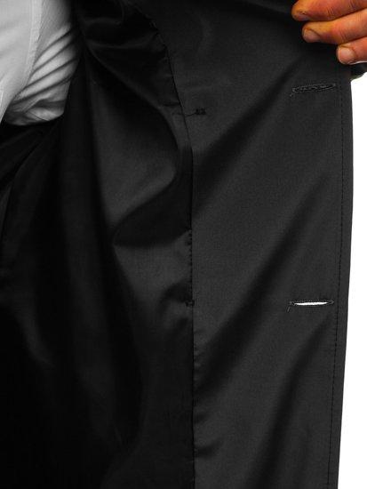 Grafitowy dwurzędowy krótki płaszcz męski prochowiec z wysokim kołnierzem i paskiem Denley 0007