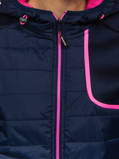 Granatowa pikowana kurtka damska przejściowa z kapturem Denley KSW4008