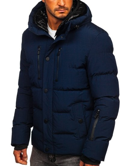 Granatowa pikowana kurtka męska zimowa Denley J1903