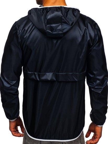 Granatowa przejściowa kurtka męska sportowa anorak z kapturem BOLF 5061