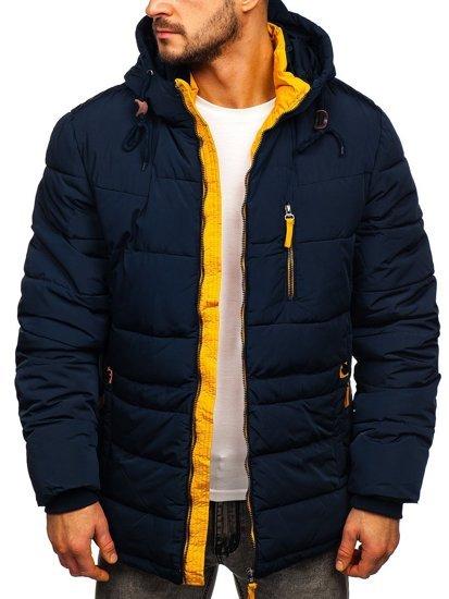 Granatowo-żółta pikowana kurtka męska zimowa z kapturem Denley M72073