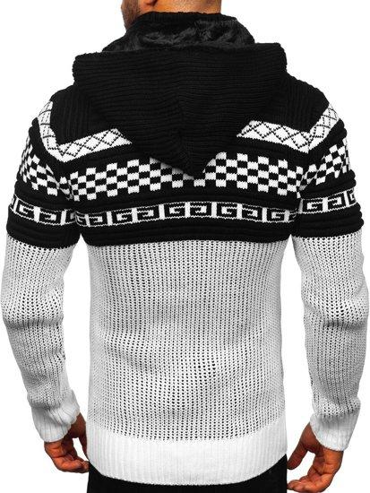 Gruby biały rozpinany sweter męski z kapturem kurtka Denley 2061