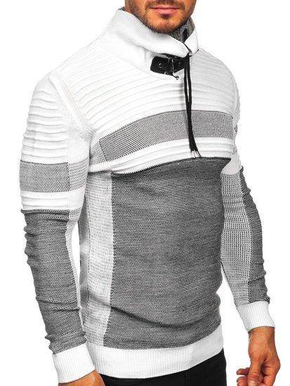 Gruby biały sweter męski ze stójką Denley 1053