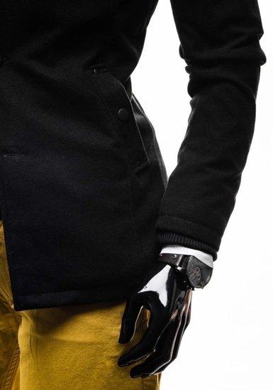 Jednorzędowy płaszcz męski z wysokim kołnierzem czarny Denley 8853E