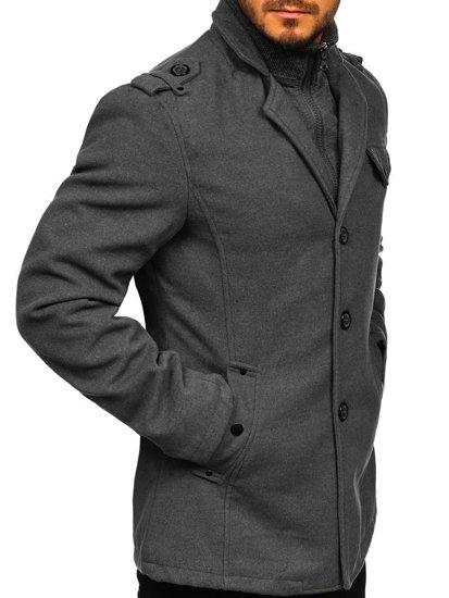 Jednorzędowy płaszcz męski z wysokim kołnierzem szary Denley 8853