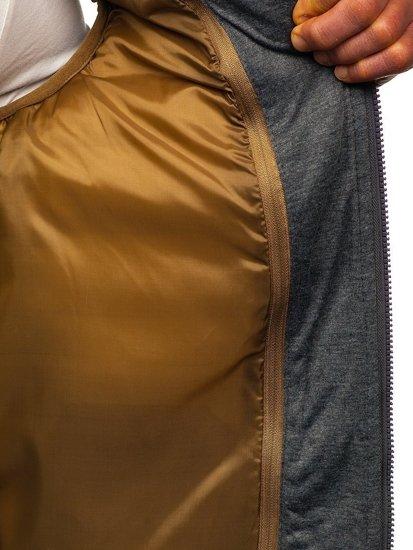 Kamizelka męska pikowana  z kapturem khaki Denley B2679