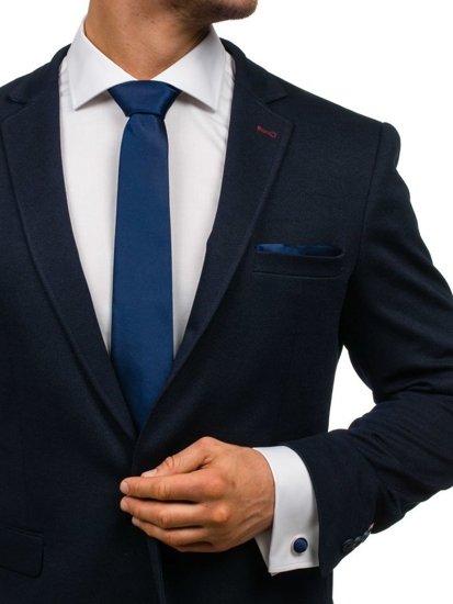 Komplet męski krawat, spinki, poszetka ciemnogranatowy Denley KSP01