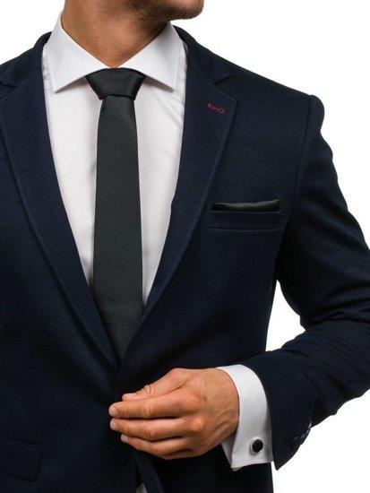Komplet męski krawat, spinki, poszetka czarny Denley KSP01