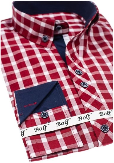 Koszula męska elegancka w kratę z długim rękawem bordowa Bolf 4747-1