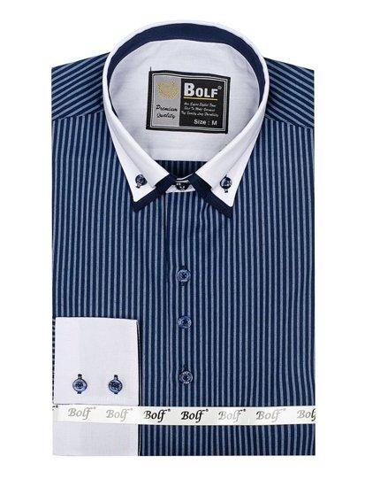 Koszula męska elegancka w paski z długim rękawem granatowa Bolf 0909
