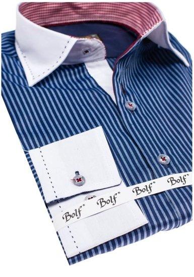 Koszula męska elegancka w paski z długim rękawem granatowa Bolf 4784