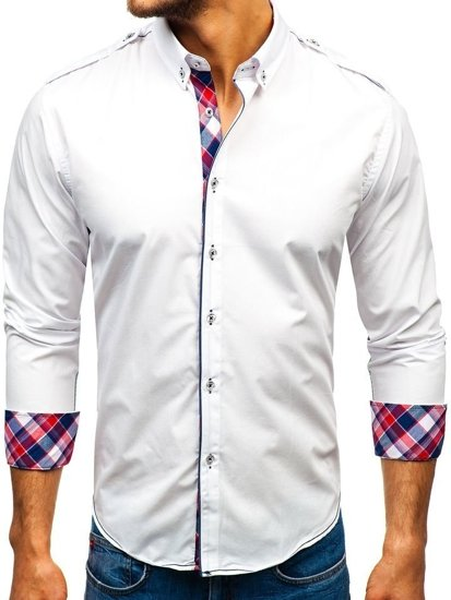 Koszula męska elegancka z długim rękawem biała Bolf 1758