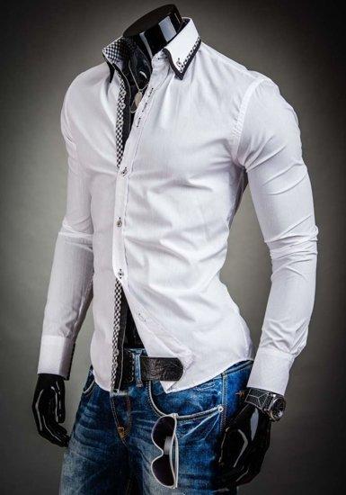 Koszula męska elegancka z długim rękawem biała Bolf 3704