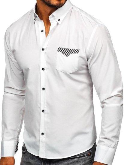 Koszula męska elegancka z długim rękawem biała Bolf 4711