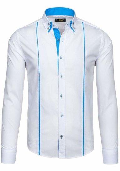 Koszula męska elegancka z długim rękawem biała Bolf 4744