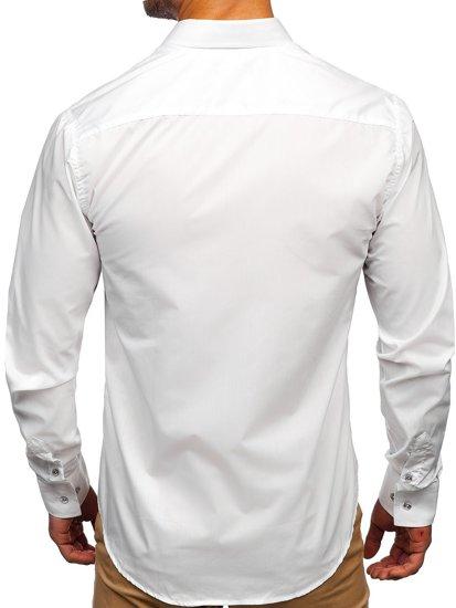 Koszula męska elegancka z długim rękawem biała Bolf 5792