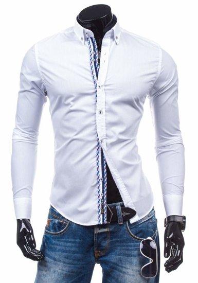 Koszula męska elegancka z długim rękawem biała Bolf 5820