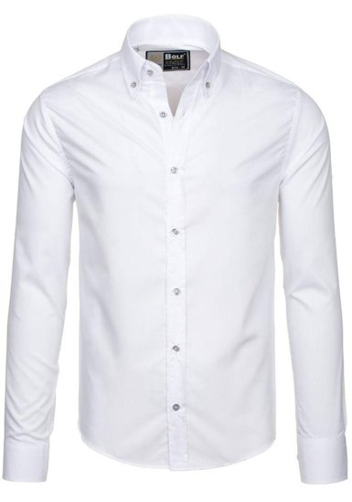 Koszula męska elegancka z długim rękawem biała Bolf 5821
