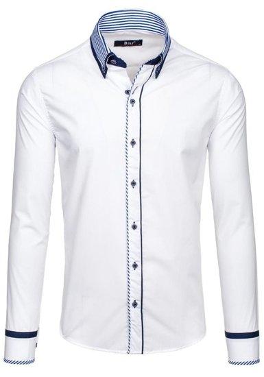 Koszula męska elegancka z długim rękawem biała Bolf 6936